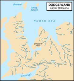 Map showing hypothetical extent of Doggerland