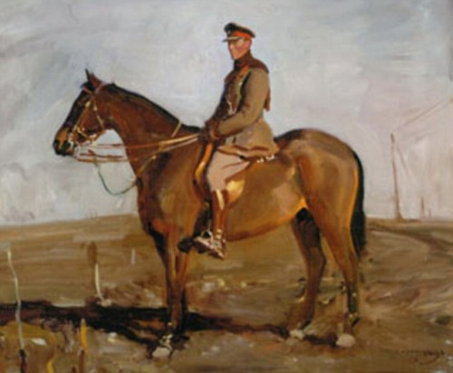 Jack Seely on his war horse Warrior